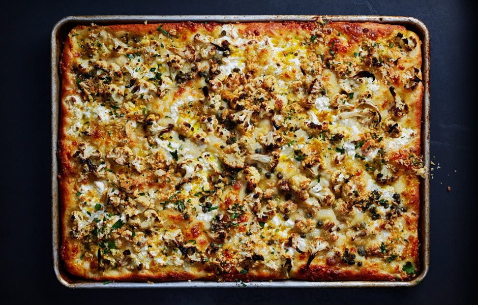 Roasted Cauliflower and Ricotta Grandma Pie