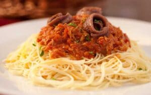 Capellini with Tuna and Anchovy Sauce
