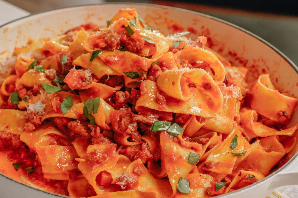 Pappardelle With Hot Sausage Sauce recipe Sunshine Dawn